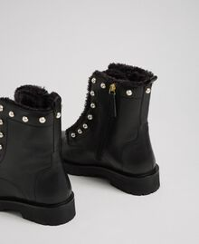 Leather combat boots with pearls Black / White Pearl Woman 192TCP034-03