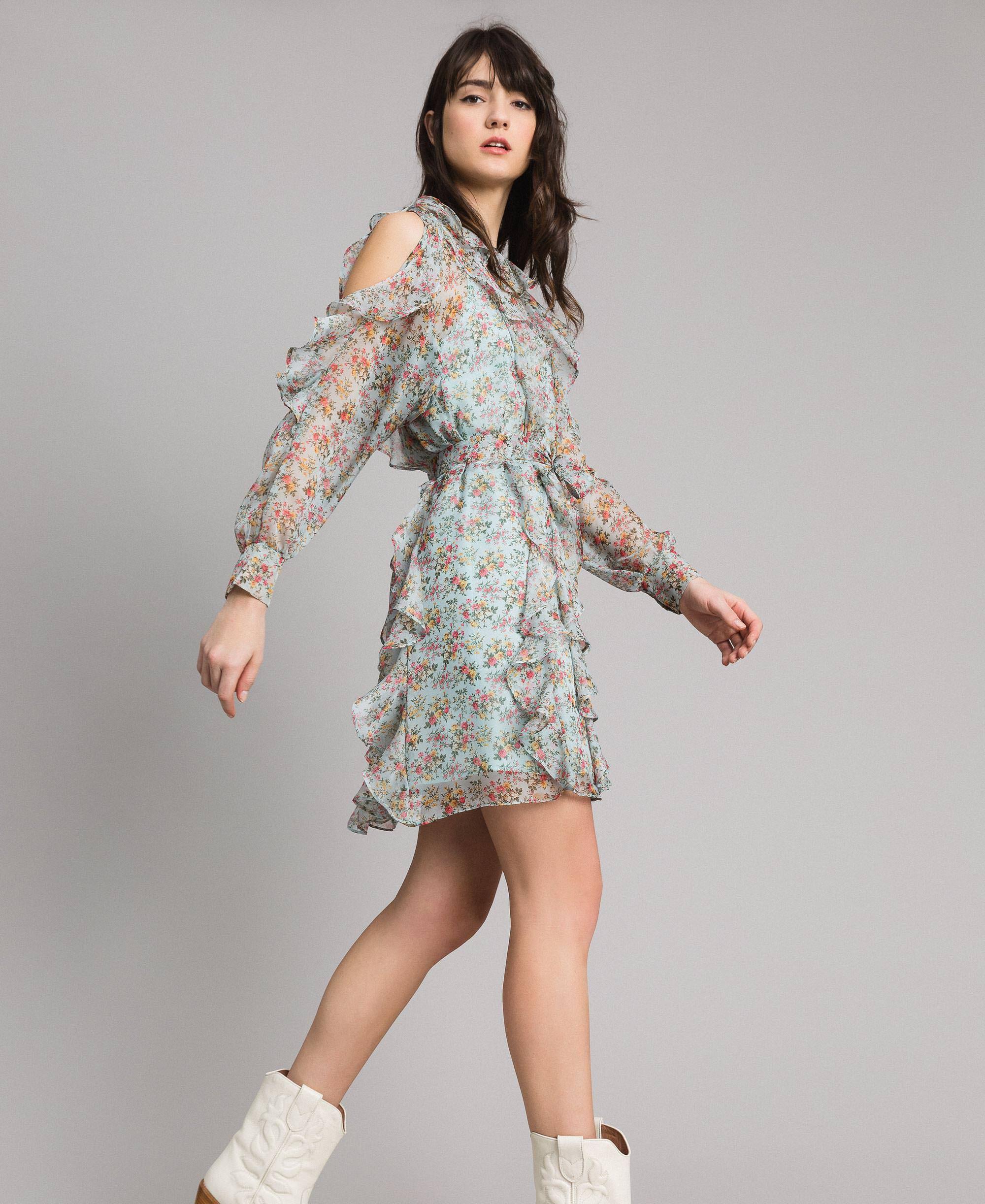 b8f5ebc6405 Платье из жоржета в горошек с воланом женщина