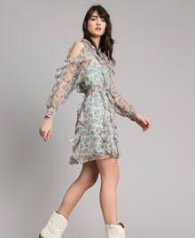 Kleid aus geblümtem Georgette mit Rüschen Motiv Aquamarin Bouquet Frau 191TP2573-02