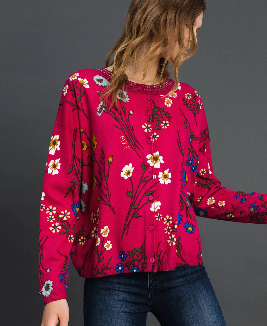 Dual use boxy jumper with rhinestones Amaranth Red Floral Print Woman 192MP3230-05