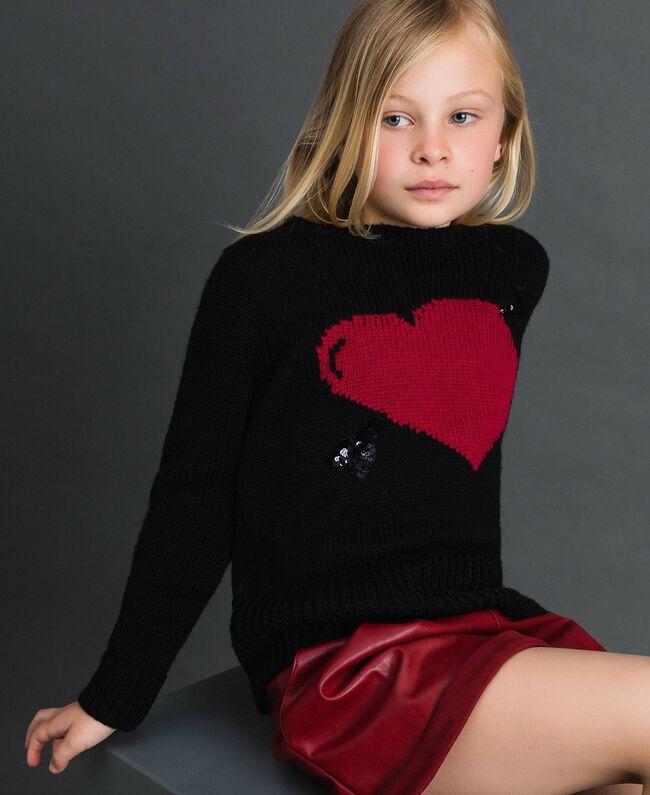 Maglia con cuore a intarsio Nero / Jacquard Bambina 192GJ3191-04