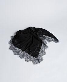 Schal aus Kaschmirmischung und Spitze Schwarz Frau AA8P1P-01