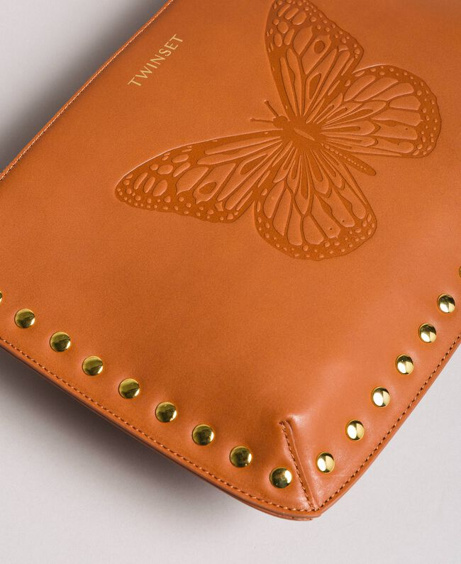 Studded leather clutch bag Leather Brown Woman 191TO8263-04