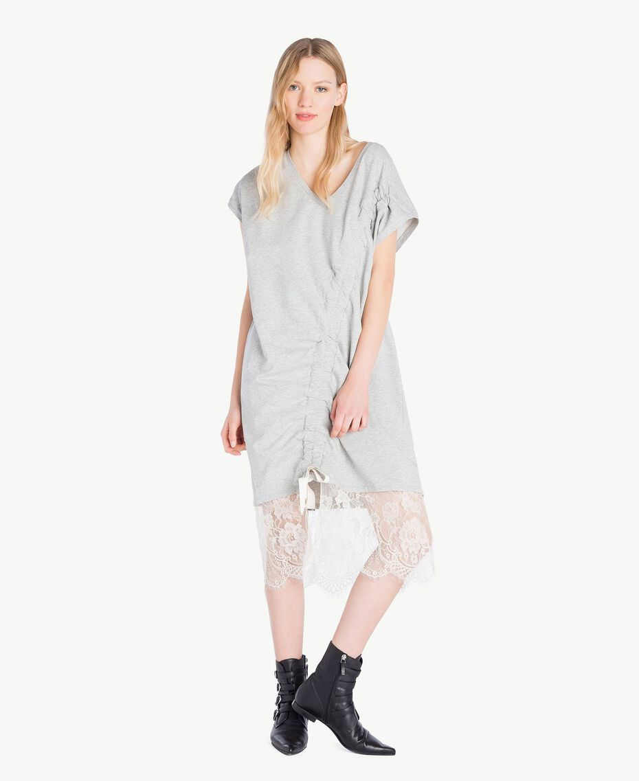 Kleid mit Spitze Hellgrau-Mélange Frau YS82KB-01