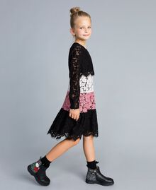 Robe en dentelle multicolore Multicolore Rose « Blush » / Noir / Roses Enfant GA82QC-02