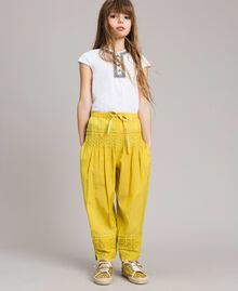 "Cotton voile trousers with embroidery ""Bamboo"" Yellow Child 191GJ2351-0S"