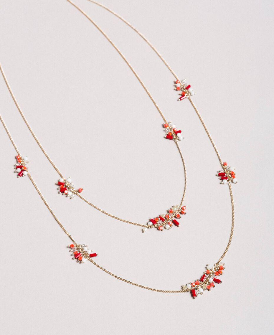 """Collier à chaînes multiples orné de perles Multicolore Rouge """"Rouge à Lèvres"""" Femme 191TO5342-01"""