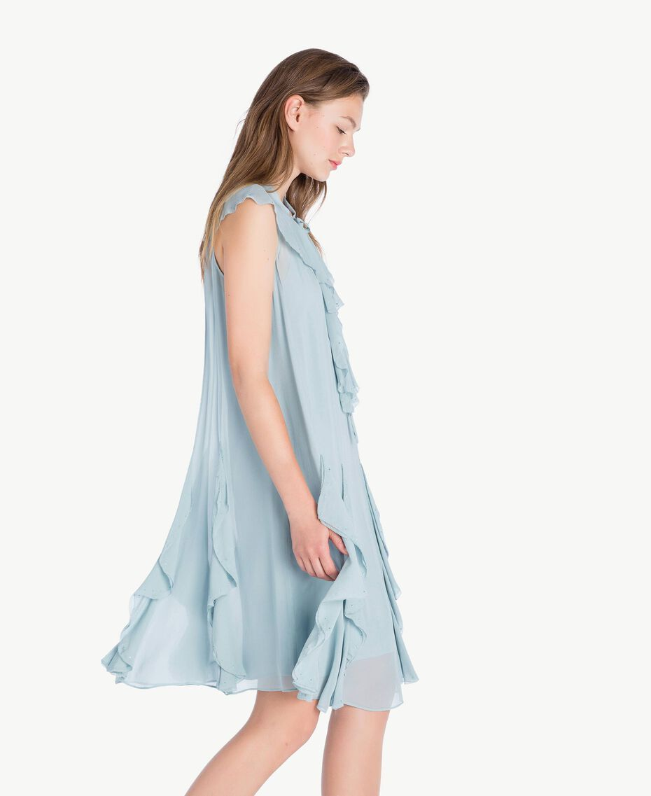 Kleid mit Rüschen Blau pulver QA7PAC-02
