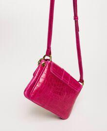 "Small Rebel shoulder bag with croc print ""Black Cherry"" Red Croc Print Woman 201TA7111-04"
