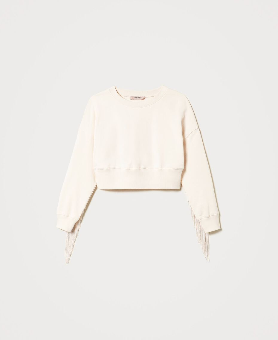 Cropped sweatshirt with fringes Creamy White Woman 202TP265F-0S