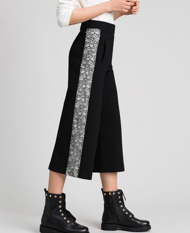 Pantalon ample avec dentelle Bicolore Noir / Blanc Neige Femme 192TP2097-03
