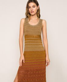 Robe longue rayée en lurex Rayé Multicolore Or Femme 201TT3091-02