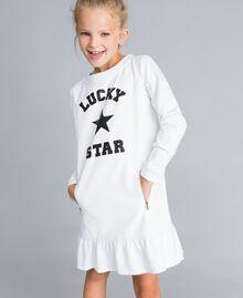 Kleid aus Lederimitat und Interlock-Jersey Mattweiß Kind GA82LU-04