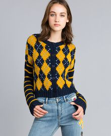 "Mini cardigan with diamond pattern and stripes Multicolour Night Blue / ""Golden Yellow"" / Denim Blue Woman YA83L1-01"