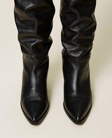 Bottes cuissardes en cuir avec talon conique Noir Femme 212TCT110-05