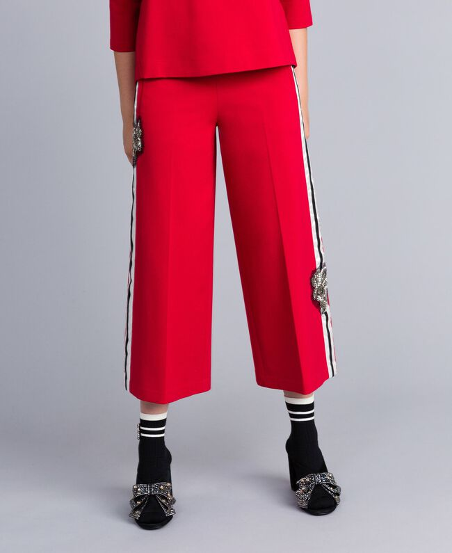 Milan stitch cropped trousers Venetian Red Woman PA821D-01