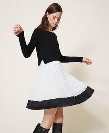 "Slip dress with wool blend jumper Bicolour Black / ""Snow"" White Woman 202TT3052-02"