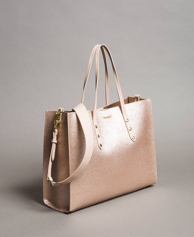 Shopper aus beschichtetem Lederimitat Roségold Frau 191TA7240-01