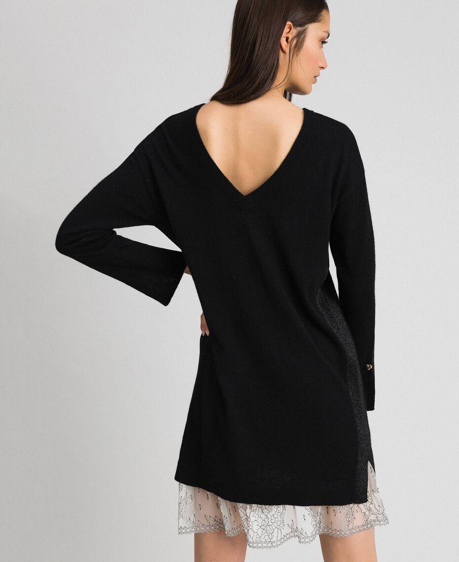 Kleid mit Lurexstreifen und Unterkleid Schwarz Frau 192MP3100-06