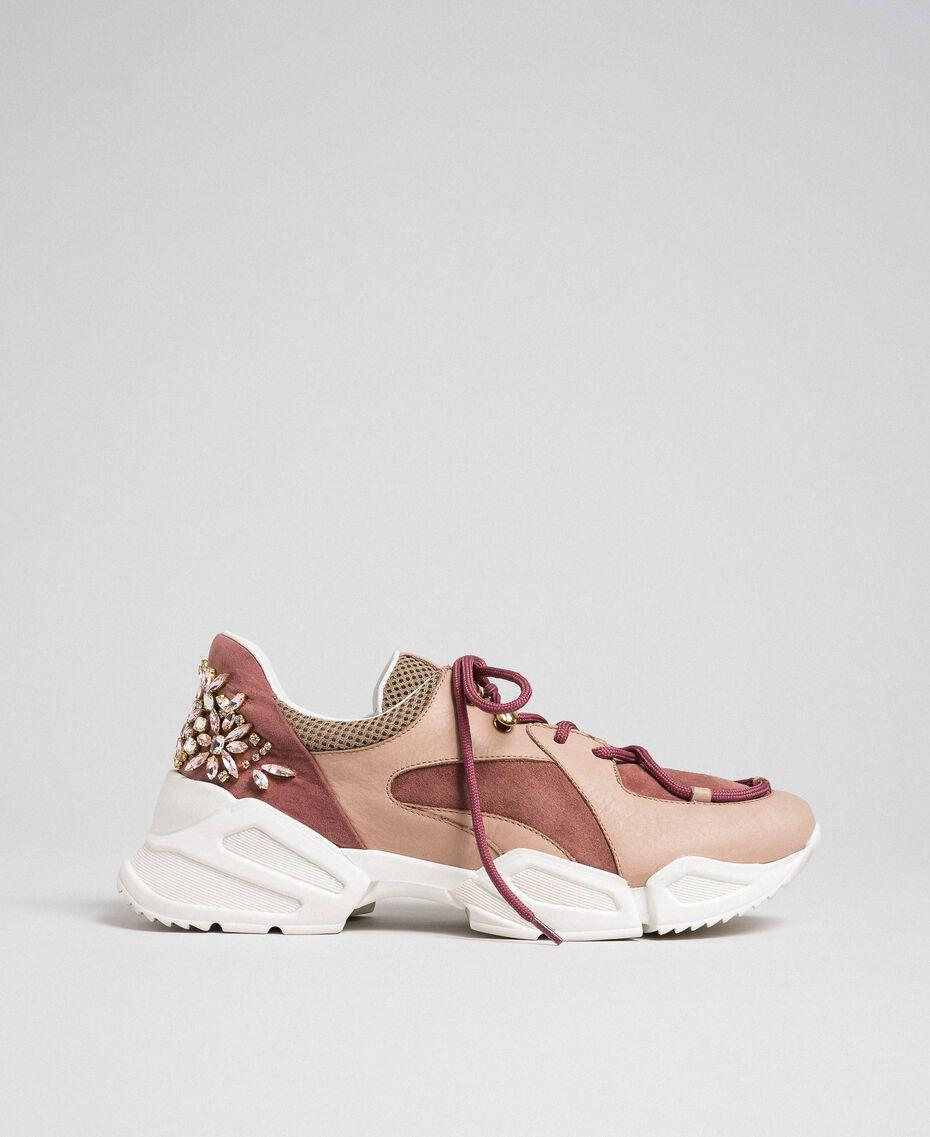 Chaussures de running en cuir avec strass Rose «Rose Nude» Femme 192TCT112-03