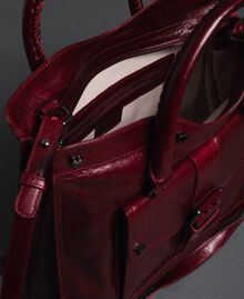 Crackled effect leather shopper Beet Red Woman 192TA7235-05