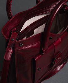 Sac cabas en cuir effet craquelé Rouge Betterave Femme 192TA7235-05