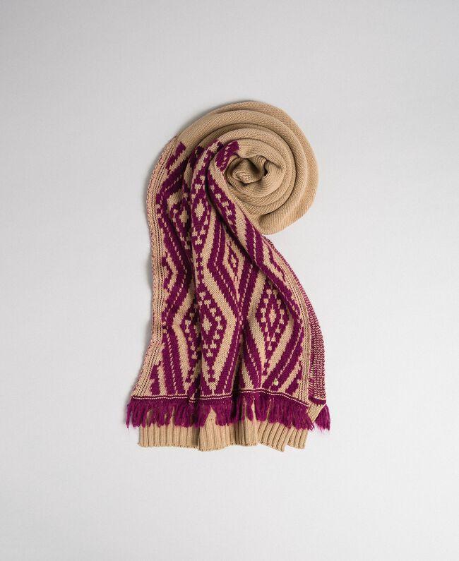 Schal aus Wolle und Kaschmir mit Fransen Ethno-Jacquard Eiskaffeebraun / Rote-Bete-Rot Frau 192TA4418-01
