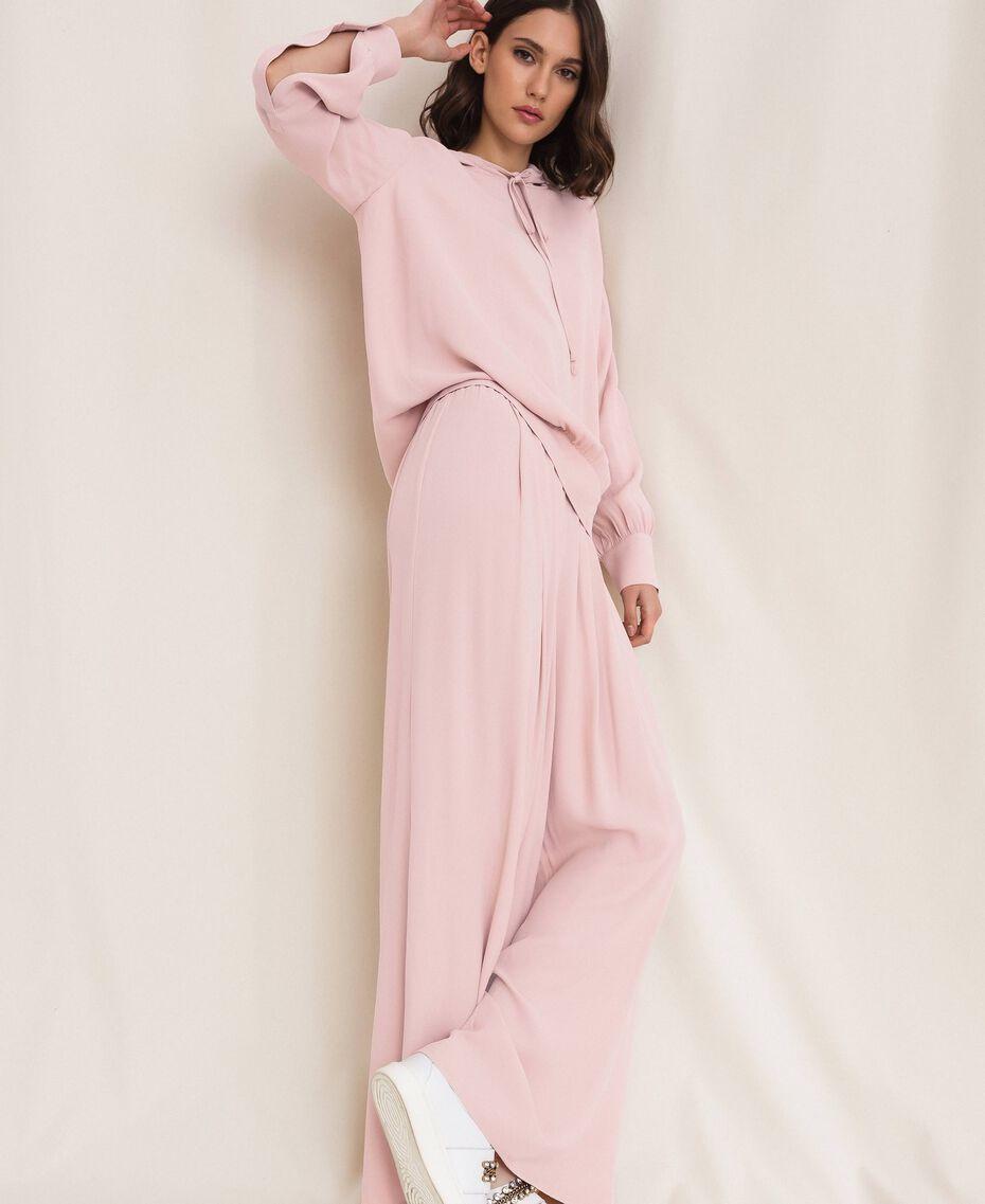 "Georgette palazzo trousers ""Peachskin"" Pink Woman 201LL2NCC-01"