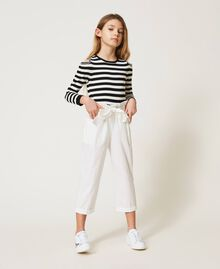 Striped jumper with cut-out and chains Off White / Black Stripes Child 211GJ350A-0T