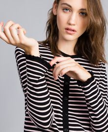 """Two-tone striped cardigan with ruches Black / """"Cloud Pink Stripe Woman JA83BR-04"""