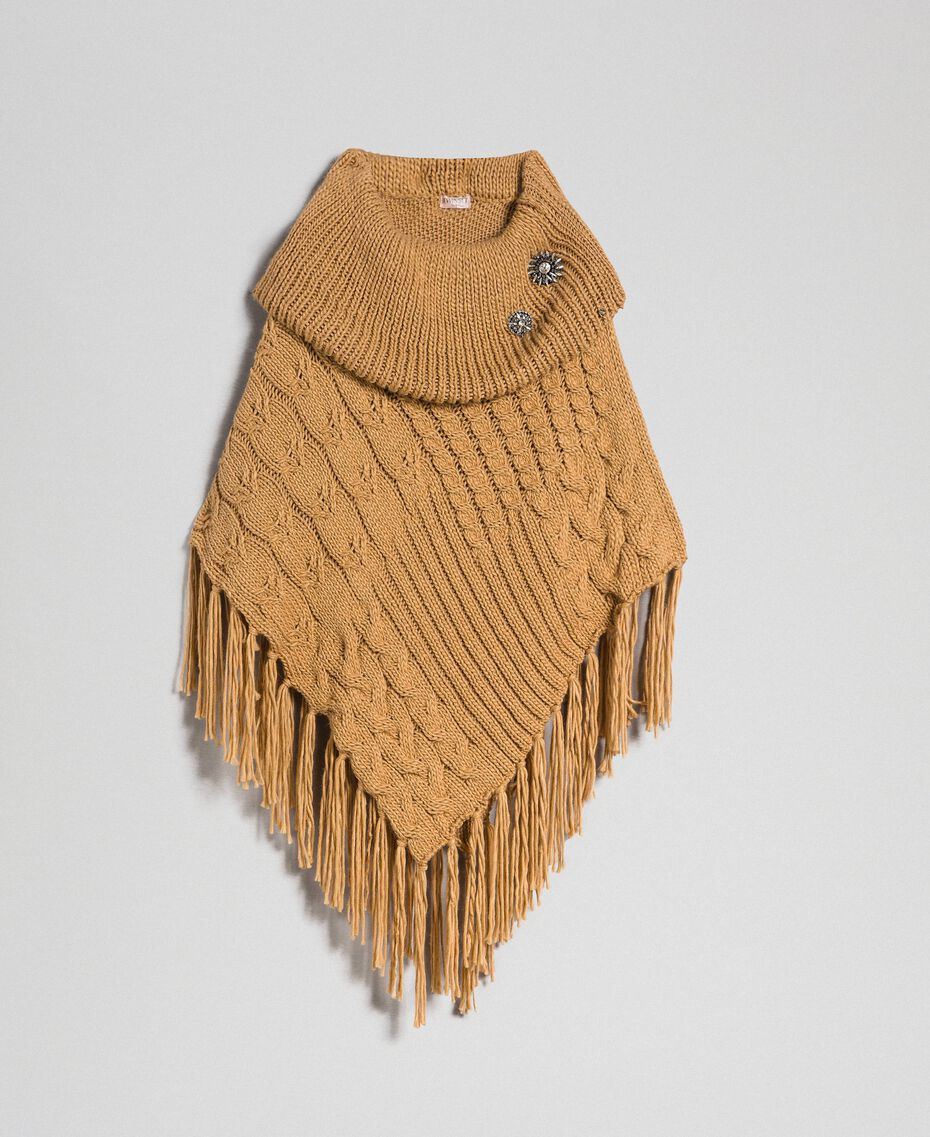 Knit poncho with fringes and bezels Camel Woman 192TO5367-0S