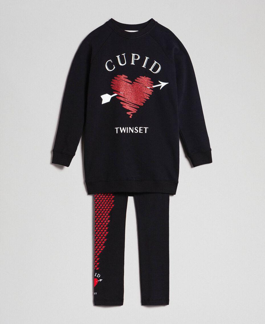 Maxi sweat avec cœur et legging Noir / Imprimé Petits Cœurs Enfant 192GJ2550-0S