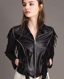 Blouson en cuir à franges Noir Femme 191TT2170-01