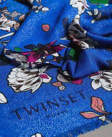 Lurex-Viskose-Schal mit Blumenmuster Motiv Windblumen Kornblumenblau Frau 191TA4368-03