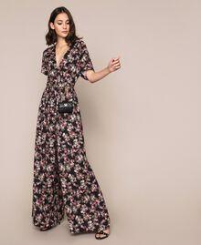 Крепдешиновый комбинезон с цветочным рисунком Принт Цветочный Черный женщина 201MP2372-0T