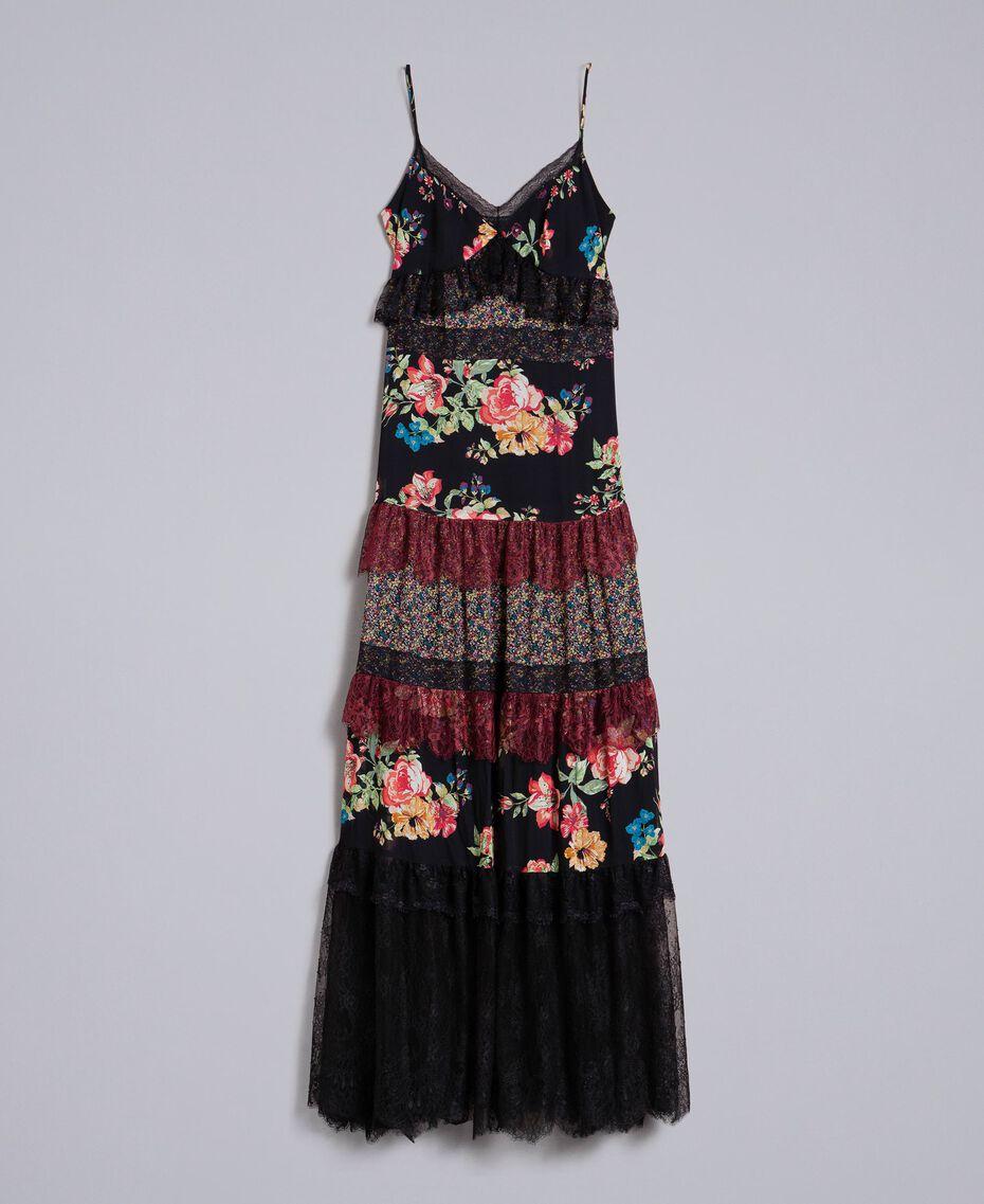 Robe longue en crêpe georgette avec imprimé floral Imprimé Fleur Patch Femme PA82PB-0S