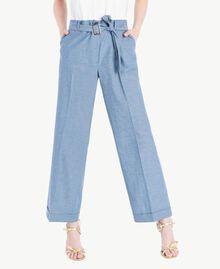 Cropped trousers Light Blue Denim Woman TS82YB-01