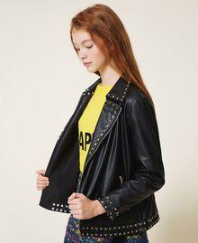 Куртка из искусственной кожи со звездочками Черный Pебенок 202GJ2830-04