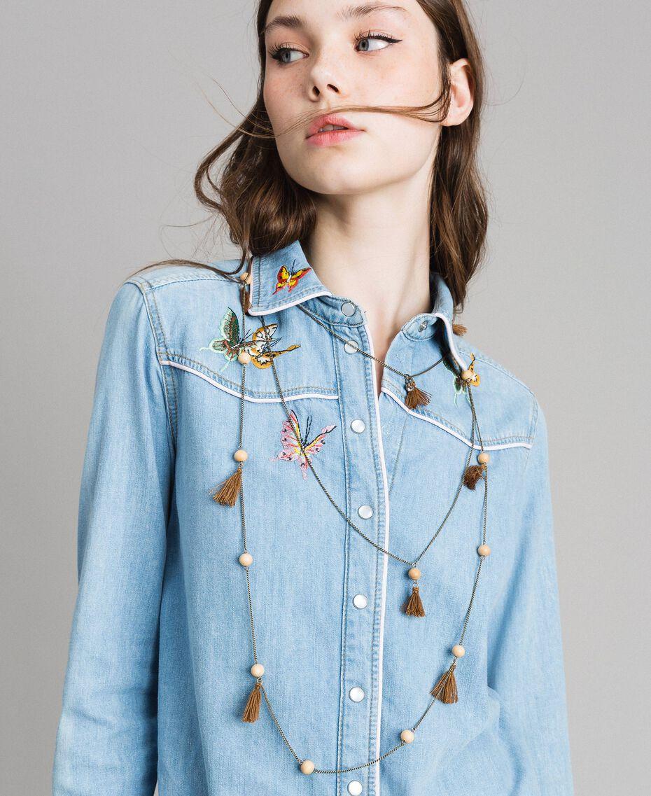 "Multi-string tassels necklace ""Rustic"" Brown Woman 191TA431K-0S"