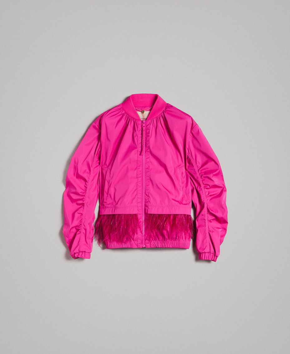 """Technical fabric bomber jacket with feathers """"Electric Pink"""" Fuchsia Woman 191TP2011-0S"""