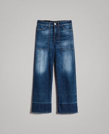 Jean fatigue à taille haute Bleu Denim Femme 191MP2474-0S