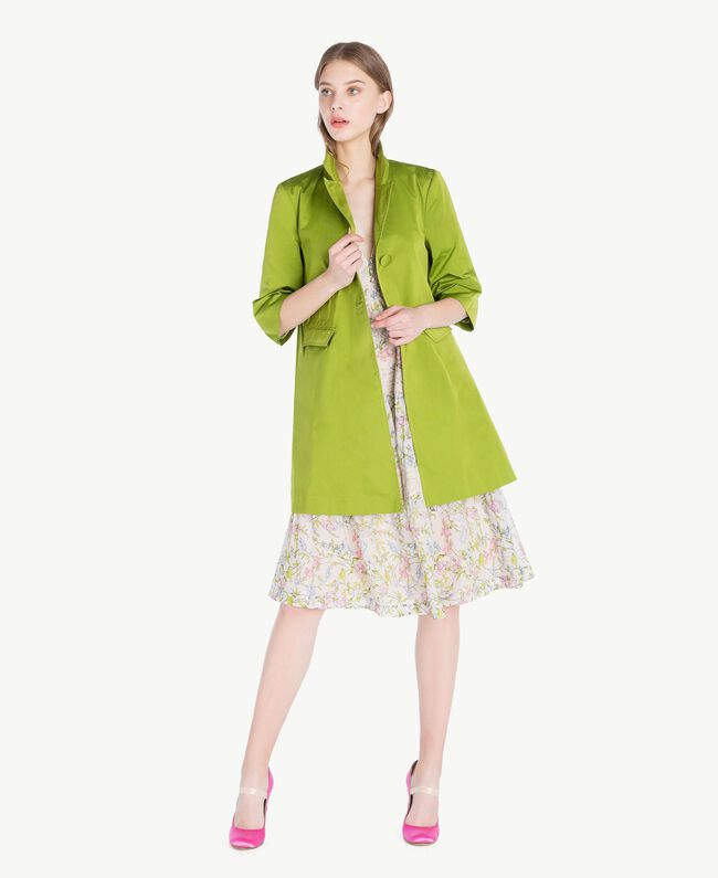 """Technical fabric duster coat """"Lime"""" Green Woman PS82J1-01"""