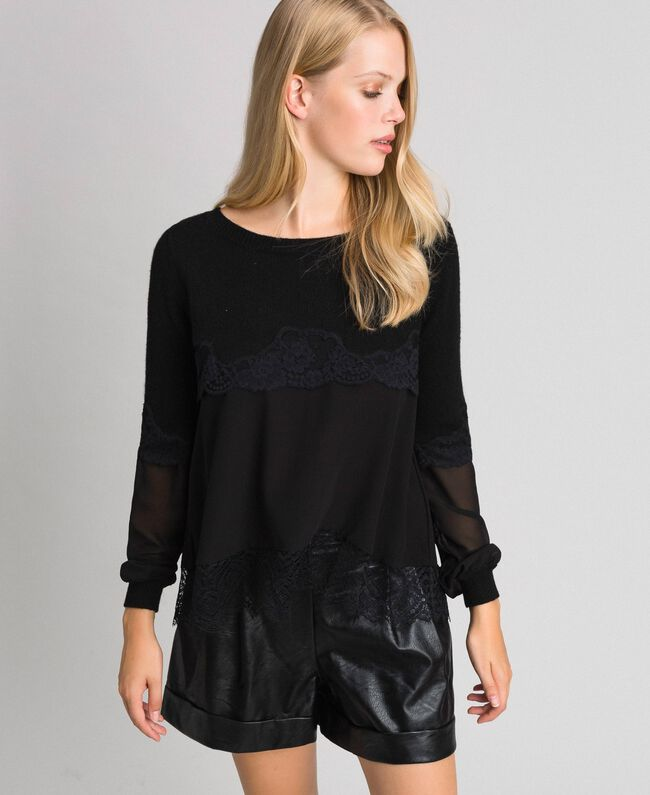 Pull avec crêpe georgette et dentelle Noir Femme 192TT3082-01
