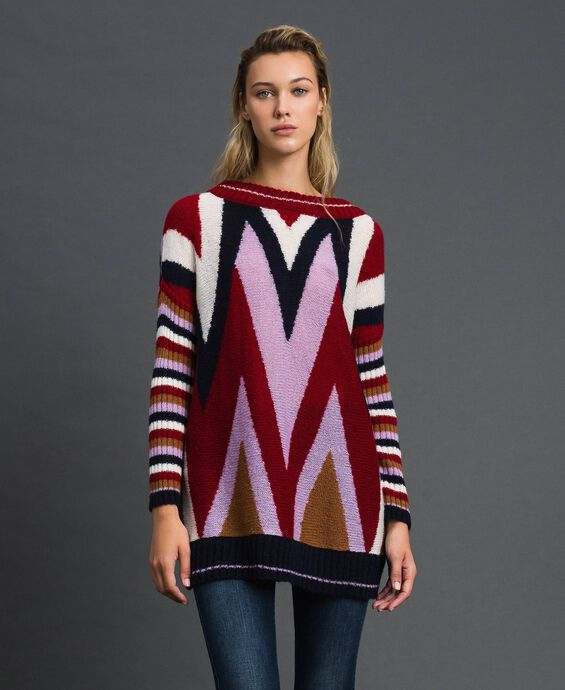 Multicolour wool and mohair maxi jumper