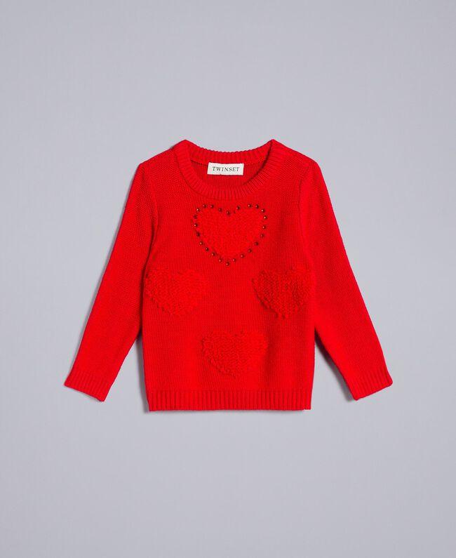Pull avec cœurs Rouge Coquelicot Enfant FA83DB-01