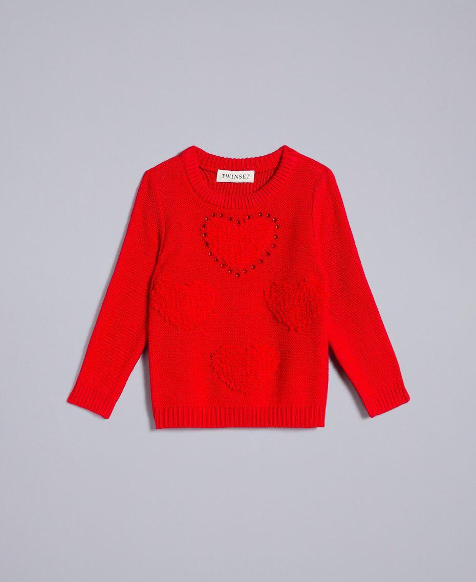 Pullover mit Herzen Rot Mohn Kind FA83DB-01