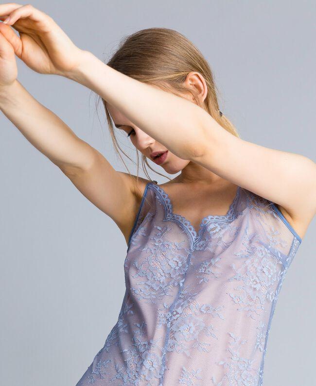 Robe nuisette en dentelle avec feston Bleu ciel Femme SA82HS-01