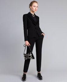 Pantalon cigarette en point de Milan Noir Femme PA8219-0T