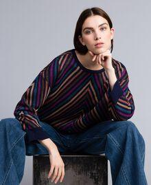 Pull jacquard à rayures lurex multicolores Jacquard Rayure Lurex Bleu Femme TA838H-01