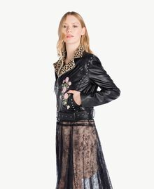 Embroidered biker jacket Black Woman PS82DN-02